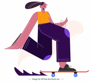 skateboard sport icon playful girl sketch cartoon character
