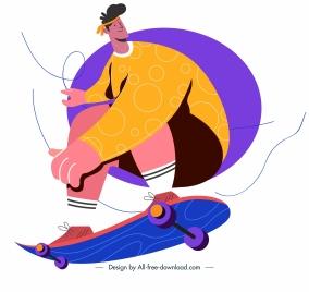 skateboard sport icon playful man sketch cartoon character