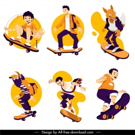 skateboard sports icons dynamic sketch cartoon characters