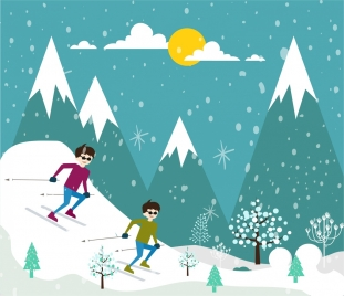 skiing sports drawing colorful outdoor cartoon design