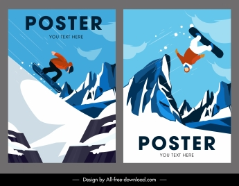 skiing sports posters colored dynamic design