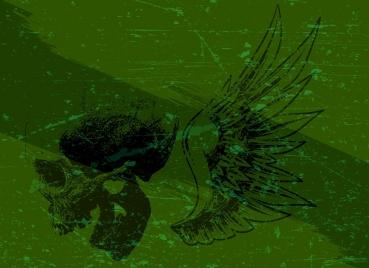 skull wing background green retro manner