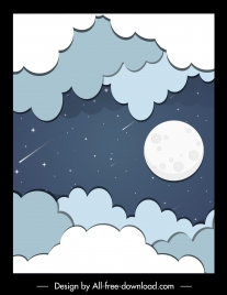 sky background cloud moon falling stars flat sketch