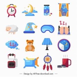 sleep design elements colorful flat symbols sketch