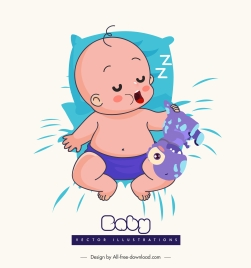 sleeping baby icon cute cartoon sketch