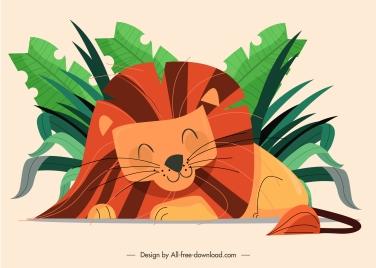 sleeping lion painting cute handdrawn cartoon sketch