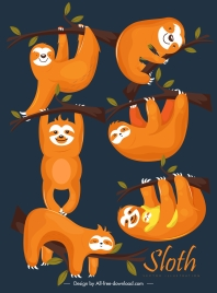 sloths painting colored classical design cute characters