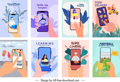 smart phone application advertisement colorful classic themes sketch