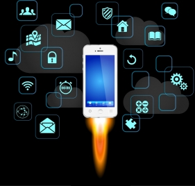 smartphone advertisement speed rocket icon various ui decor