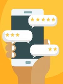 smartphone advertising background stars ticks speech bubbles icons