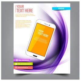 smartphone brochure template vector illustration with art background