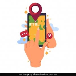 smartphone navigation icon hands touchscreen sketch cartoon design