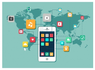 smartphone promotion with ui icons and continents illustration