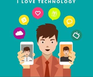 smartphone technology advertisement human holding phone icon
