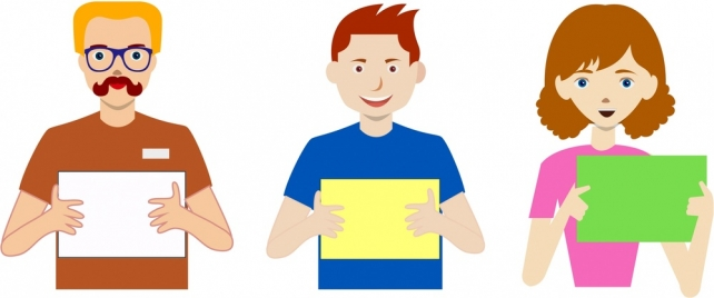 smiling people holding blank banner for your text