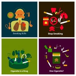 smoking warning banners illustration with various symbols