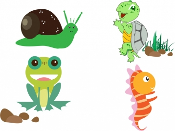 snail turtle frog seahorse icons cute cartoon design