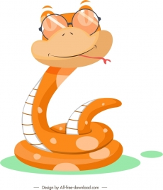 snake icon cute cartoon character stylized design