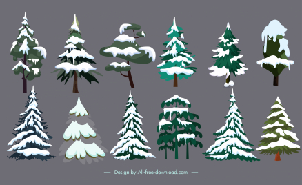 snowy fir trees icons colored classic sketch