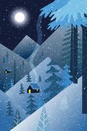 snowy landscape drawing dark blue design moonlight decor