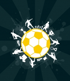 soccer background ball decoration silhouette grunge vignette style