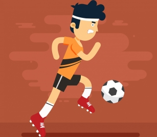 soccer background male player icon colored cartoon design