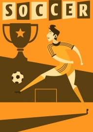 soccer banner male player cup texts decoration