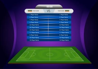 soccer formation arrangement banner colorful 3d design