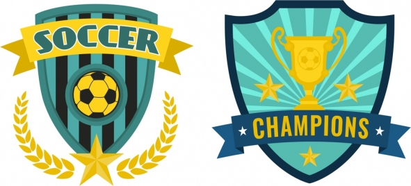 soccer logotype sets classical colorful shield style