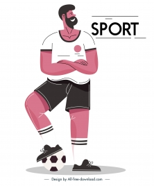 soccer player icon classic design cartoon character sketch