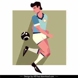 soccer player icon flat cartoon character sketch