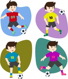 soccer player icons collection various colorful flat isolation