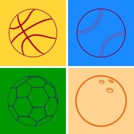 soccer tennis basketball bowling balls outline flat design