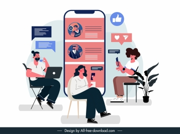 social media banner chatting people digital devices sketch