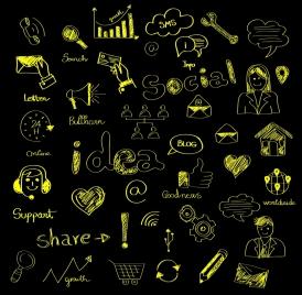 social media design elements chalkboard drawing style