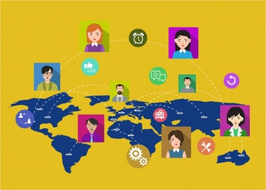 social networking concept human avatars connection on map