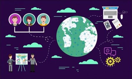 social networking concept human icons earth ui design