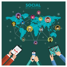 social networking concept with smart devices and map