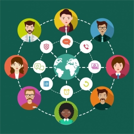 social networking design human icons circle infographic style