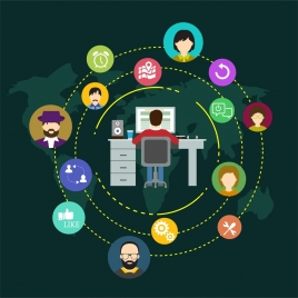 social networking design people and symbols in circle