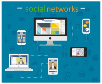 social networks concepts with digital devices illustration