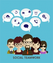 social teamwork concept infographic human and interfaces design