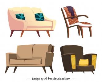 sofa furniture icons classical contemporary sketch