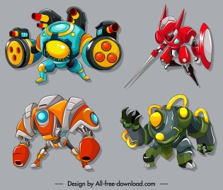 soldier robots icons modern armed design colorful decor