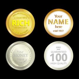 souvenir coin icons shiny round design various decoration