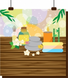 spa background various colorful tools decoration bokeh style