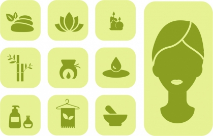 spa icons design elements various symbols dark silhouettes