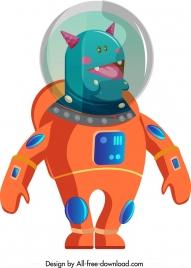 space alien icon colored cartoon sketch