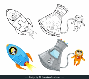 space astronaut icons black white colored handdrawn cartoon