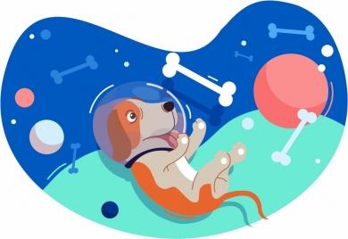 space background dog bone ball icons floating design